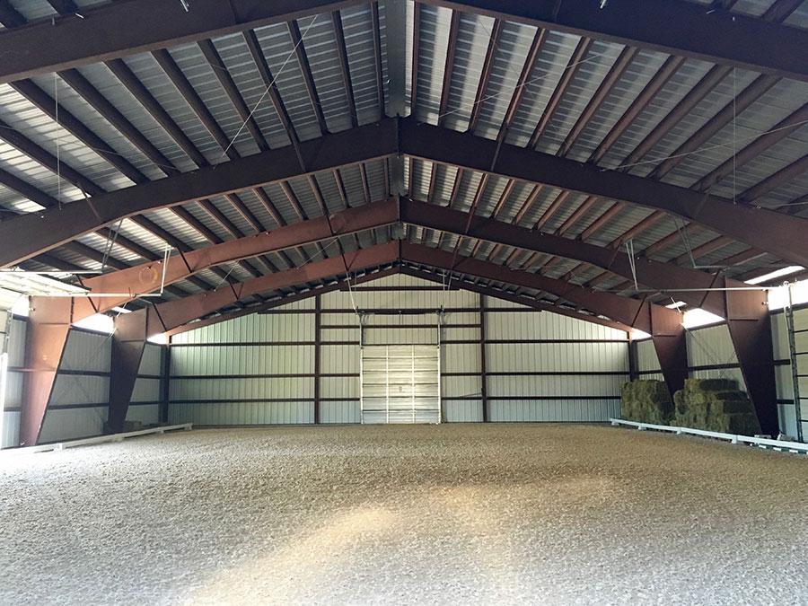 Enclosed Steel Riding Arena Interior