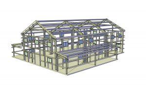 """42'0""""x80'0""""x20'0"""" with 13'0"""" Sidewall Lean-To Frames on Sidewalls"""