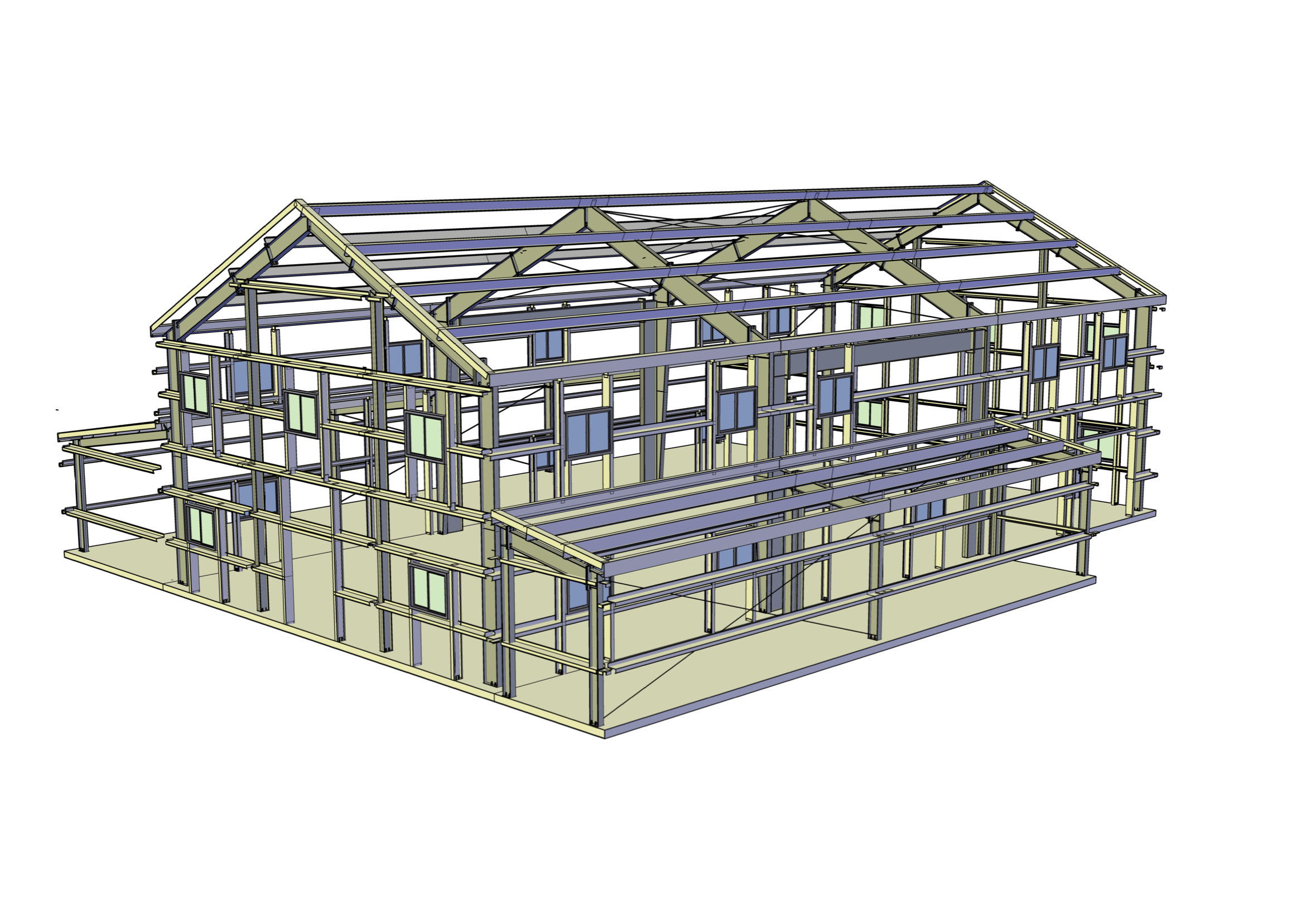 "42'0""x80'0""x20'0"" with 13'0"" Sidewall Lean-To Frames on Sidewalls"